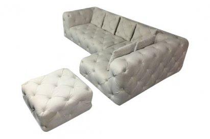 Narożnik Chesterfield Sun z pufą i poduszkami z kryształkami 270x170
