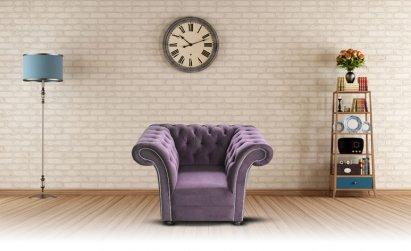 Fotel Chesterfield Avon z czarnymi kryształkami Swarovskiego