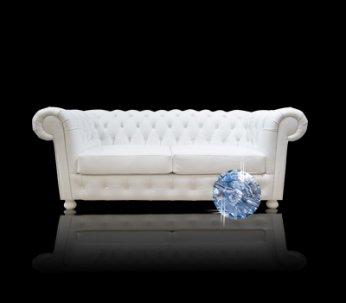Sofa Chesterfield Canon w skórze z kryształkami