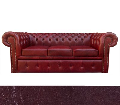 Sofa chesterfield Classic Plus rozkładana 3 os. skóra A7 wiśniowa