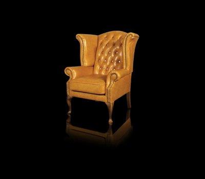 Fotel Uszak Chesterfield Lord Regent z kryształkami Swarovskiego