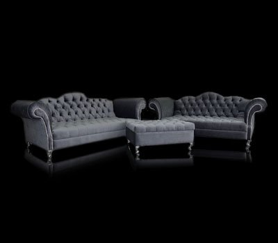 Zestaw mebli chesterfield Manchester (sofa 4 os., sofa 3 os., pufa z pojemnikiem)